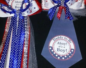 Sell now Nautical Ocean Sailor Theme baby shower corsage Mommy & Daddy Tie To Be