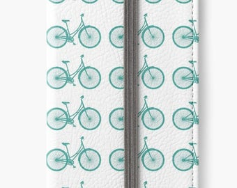 Folio Wallet Case for iPhone 8 Plus, iPhone 8, iPhone 7, iPhone 6 Plus, iPhone SE, iPhone 6, iPhone 5s - Teal Bicycle Pattern design