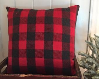Plaid pillow, Tartan plaid, buffalo check pillow, black and red pillow, farmhouse pillow