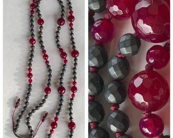 Ruby Agate & matte Hematite necklace