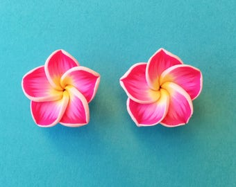 "Fun in the Sun Collection - ""Pretty Plumeria"" Earrings Tiki Hawaiian Themed - Pink and Yellow"