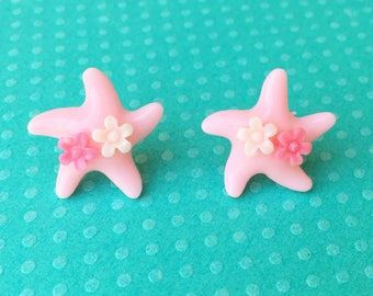 "Under The Sea Collection ""Sea Star Sweetheart"" Light Pink Fuschia Mermaid Starfish Earrings with Pink and White Flowers"