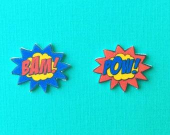 "Superhero Collection ""Pop Art Comic"" Retro Comic Inspired Earrings"