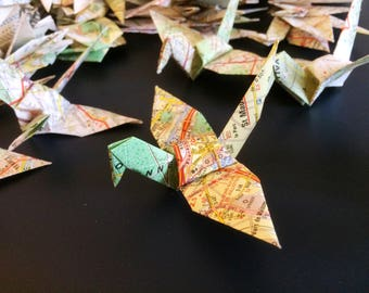 Map Origami Birds 10cm X 100 Vintage French Map - Origami Birds - Folded Paper Birds - Wedding Decoration - Baby Shower - Paper Decorations