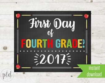 First Day of Fourth Grade Sign Printable - 1st Day of Fourth Grade Sign - First Day of School Sign - Chalkboard Sign - Instant Download