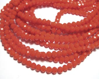 1 Strand Red Orange Faceted Imitation Jade Glass Beads 3mm( No.24)