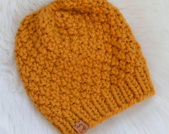 """Handmade Knit Chunky Hat, Knit Pom Pom Hat, Mustard Yellow Knit Hat, """"Linden Hat"""", Available with Faux Fur Pom Pom,  Ready to Ship"""