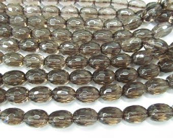 """AA+ Full strand 16"""" SMOKE Smoky QUARTZ barrel drum rice faceted Luxe Chocolate Brown neutral classic Topaz Smoky beads 10-25mm"""