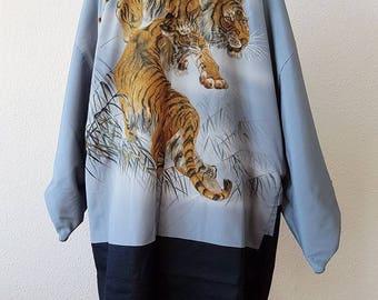Mens Kimono navy blue wool Haori Kimono jacket/tiger lining/long jacket /reversible /original Japanese vintage/sukajan