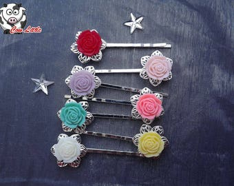 x 1 hair clip colors to choose silver plated cabochon
