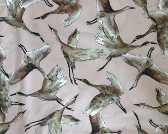 Fabric -Lady McElroy - Flying flock, muted lilac/grey - 100% cotton lawn - woven fabric