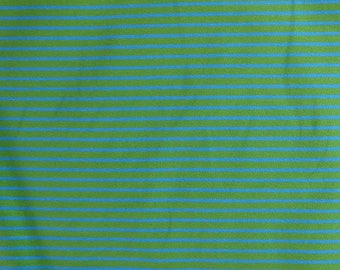 Fabric - cotton/elastane medium weight striped jersey fabric - green/turquoise - knit fabric.