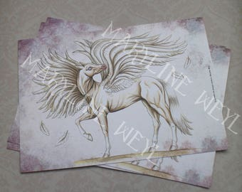 "postcard ""the book of strange creatures"" - winged horse"
