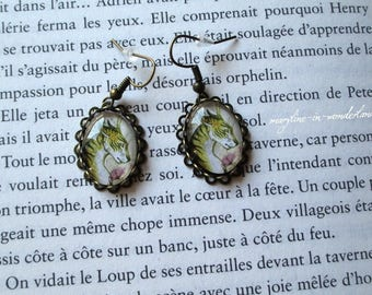 dragon cat Cabochon earrings