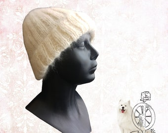 Handspun, handknitted  cozy soft hat - from samoyed dog hair