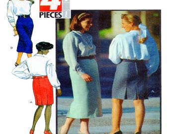 Butterick 5655, Womens Skirt, Sewing Pattern, Fitted, Knee Length, CalfLength, Back Kick Pleat, Inverted Pleat Detail, Size 6-8-10, UNCUT