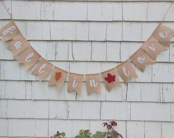 Fall in Love Burlap Banner, Fall in Love Bunting, Burlap Garland, Fall Wedding Decor, Engagement Banner, Photo Prop, Bridal Shower Decor