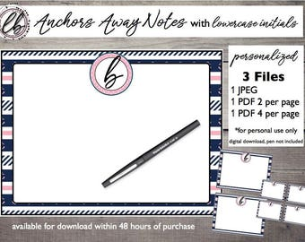 ANCHORS AWAY Note Cards [Personalized Digital Download]