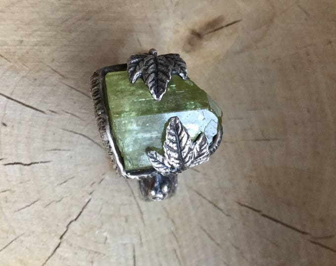 Featured listing image: Snail Trail Besties Ring. Green Apatite with Snails in Sterling Silver Ring, One of a Kind, OOAK, Woodland Forest, Size 8