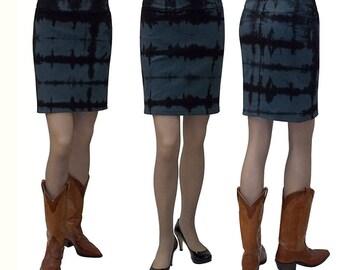 Baby'O Women's Tie Dye Stretch Denim Mini Skirt Blue / Black