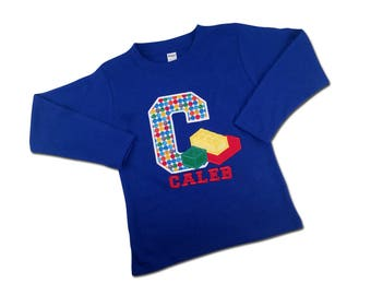 Building Bricks Birthday Shirt with Initial and Name