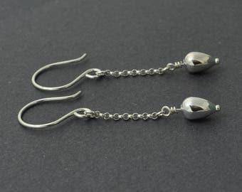 Long Dangle Earrings, Long Chain Earrings, Lightweight Earrings, Sterling Silver Dangle, Tear Drop