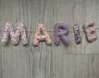 """Garland name or letters for baby/child room decoration: model """"Petites Fleurs"""""""