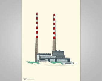 Poolbeg Chimneys ( Cream) Stylish and Graphic, Made in Ireland, The Perfect Gift (unframed)