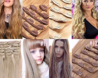"20"" Clip-In Extensions 100% REMY Human Hair EXTRA THICK 100 / 150 / 200 / 250 / 300 grams Blonde light Brown dark blond"