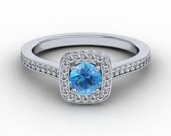 Aquamarine Diamond Engagement Ring .31ct Brilliant Round Diamonds .50ct Round Aquamarine  Center Square Cushion Setting Halo Ring