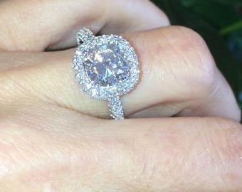 Forever One Moissanite Engagement Ring 2.40ct Cushion Cut Moissanite Unique Halo Ring 1.20ct Natural Diamondswhite goldPristine Custom Rings