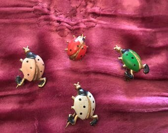Vintage ladybird brooches