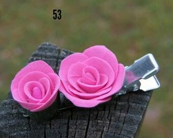 Red violet rose hair clip