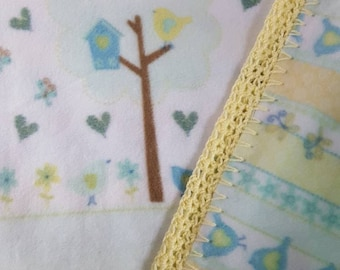 Woodland themed Baby blanket double thickness for added warmth