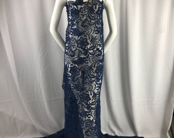 Fascinating navy blue light weight guipure design-prom-decorations-nightgown-apparel-fashion-dresses-sold by the yard.