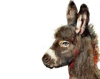 Watercolor donkey art print, watercolor painting, animal art, kids print, brown nursery animal decor - R35