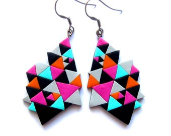 Geometric Earrings, Pink Earrings, Triangle Earrings, Colorful Earrings, Bright Earrings, Big Earrings, Party Jewelry, Modern Earrings