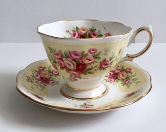 "Royal Albert Rosedale Serise ""Evesham"" China Tea Cup & Saucer"