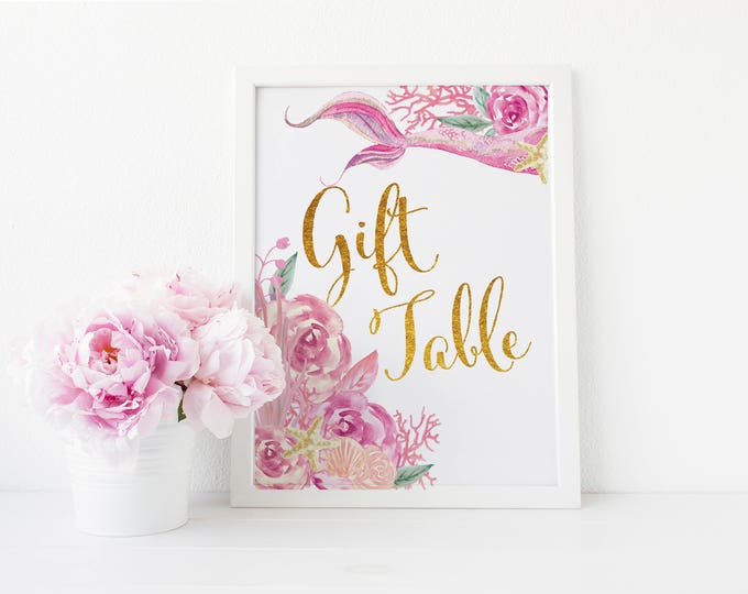 "Gift Table Sign 5x7""  // Mermaid Gift Table // Gold // Pink // Floral // Made to Match our QUEENSLAND COLLECTION"