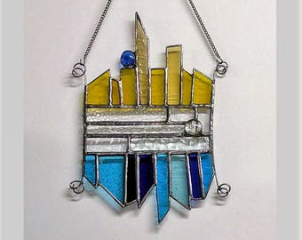 Blue and Yellow stained glass suncatcher with beads and wire work