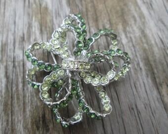 Vintage Peridot Emerald Green Rhinestone Crystal Bow Pin Pendant Whiting Davis
