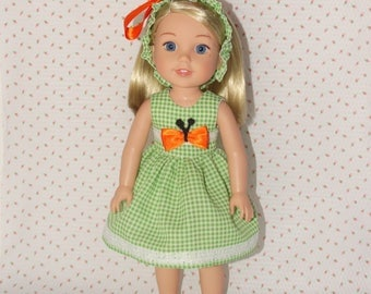 Handmade Orange Butterfly Dress and Headband to fit 14.5 inches Dolls such as wellie wishers doll clothes AG