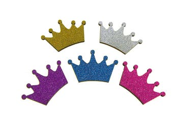 Royal Crown Glitter Wood Favors, 1-1/2-Inch