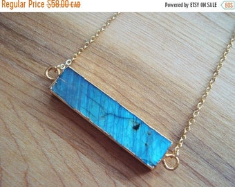 15% OFF SALE Blue Flash Labradorite Stone Bar Pendant Necklace 14K Gold Filled // Stone Bar Necklace // Boho Jewelry // Boho Luxe // Boho Ne