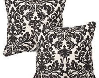 Set of  Two Victorian Throw Pillow Cases - Black and White - Invisible Zipper