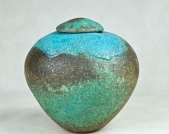 Studio Pottery No. 12, Lovely STONEWARE GINGER JAR  with Lid, 2017