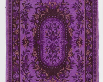 "Overdyed Rug 4' x 6'10"" (120 x 209 cm) Turkish Handmade Vintage Rug, Purple Overdyed Rug"