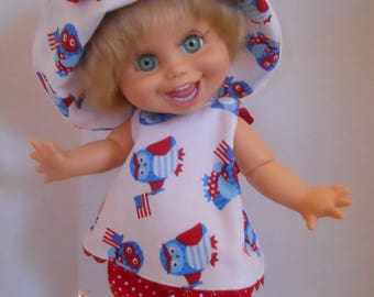 Patriotic Three Piece Ensemble 13 Inch Doll Clothing Galoob Baby Face Crossover Top Bucket Hat Bloomers