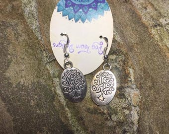 Silver Tree of Life earrings on silver plated french hook earwires.