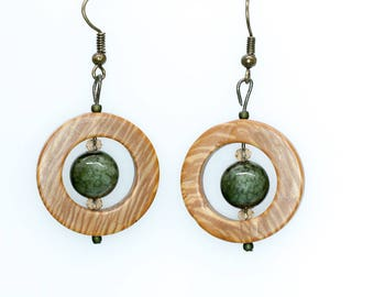 Green and Brown Window Earrings
